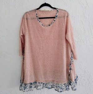 Sweater with Floral Trim